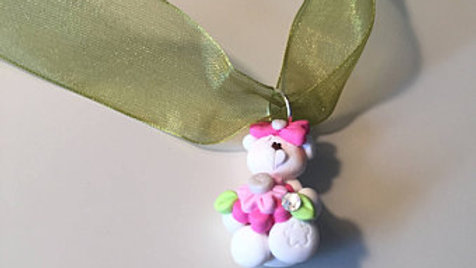 White Clay Bear Necklace