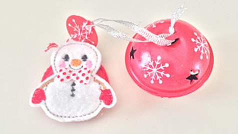 Snowman and Jingle Bell Christmas Ornament