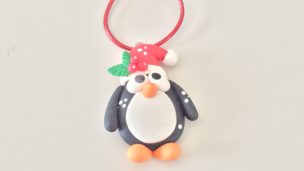 Clay Penguin Christmas Ornament