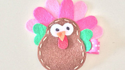 Pink Turkey Hair Clip