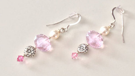 Soft Pink Beaded Dangle Earrings