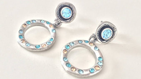 Silver and Blue Stone Ring Earrings