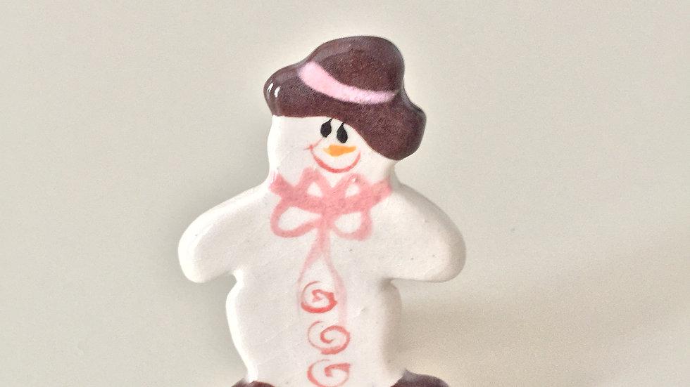 Pink Cap Snowman Pin