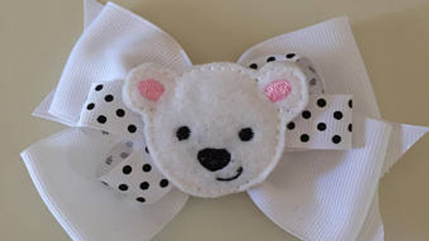 Winter Polar Bear Bow Hair Clip