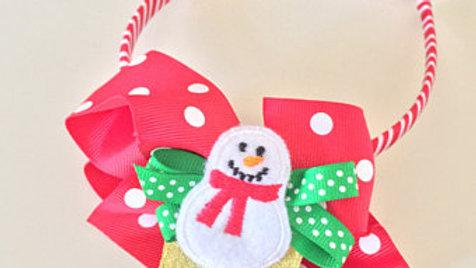 Snowman Bow Christmas Head Band