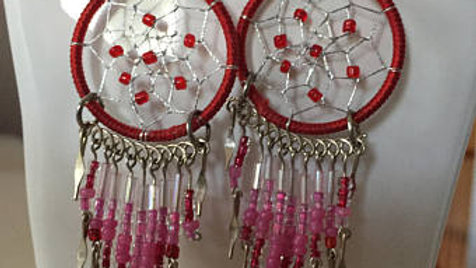 Hot Pink and Red Beaded Dangle Earrings