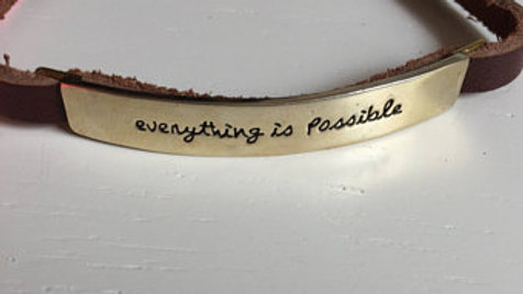 Leather and Metal Gold Engraved Bracelet