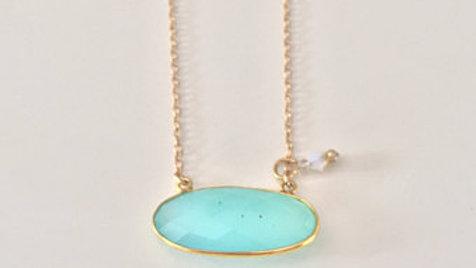 Light Blue Oval Stone Necklace