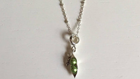 Silver and Green Leaf Necklace