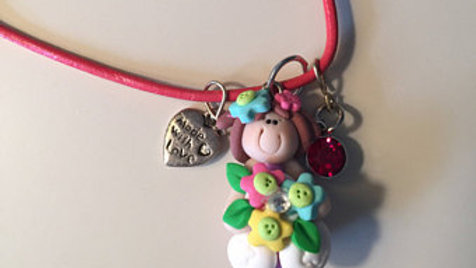 Flower Girl Clay Charm Necklace