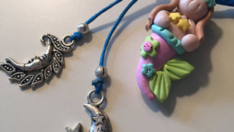 Clay Mermaid Charm Necklace