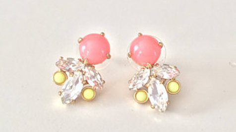 Glossy Floral Studded Earrings