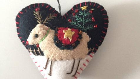 Heart Reindeer Christmas Ornament