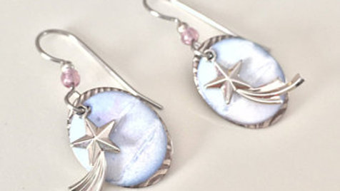 Silver, Blue, and Purple Charm Earrings