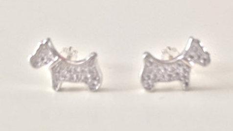 Silver Stud Dog Earrings