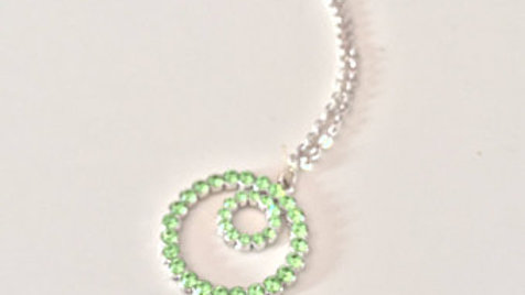 Green Studded Circle in Circle Necklace
