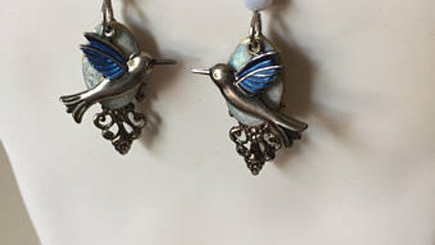 Blue and Silver Bird Earrings