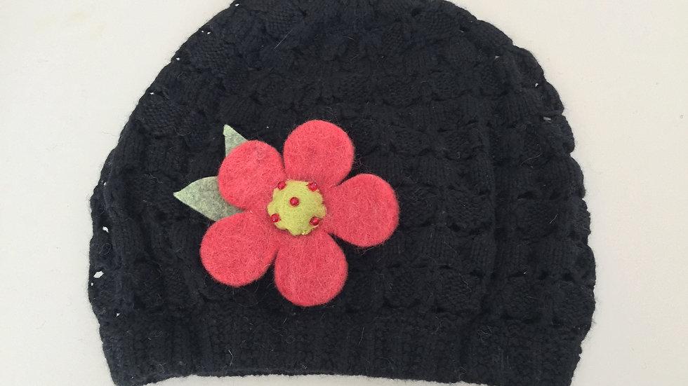 Black Knit Flower Hat
