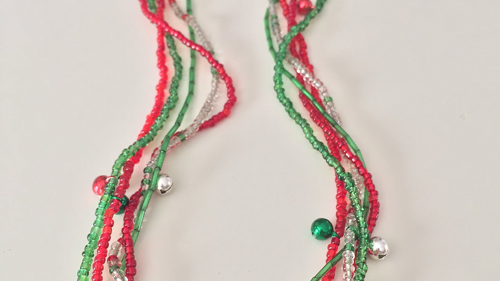 Beaded Christmas Necklace With Jingle Bells