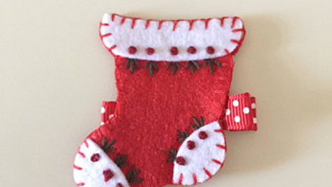Stitched Red Stocking Hair Clip