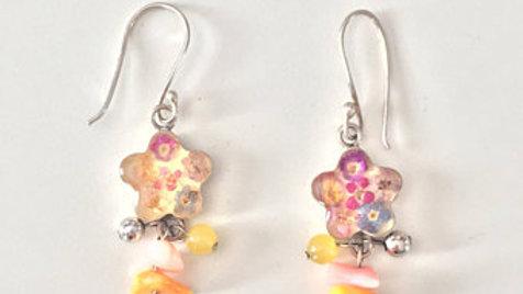 Floral Beaded Dangle Earrings