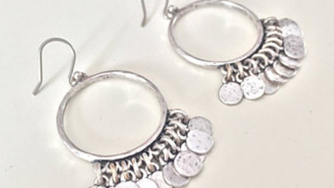Silver Hoop Earrings with Charms