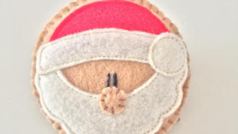 Round Santa Christmas Ornament