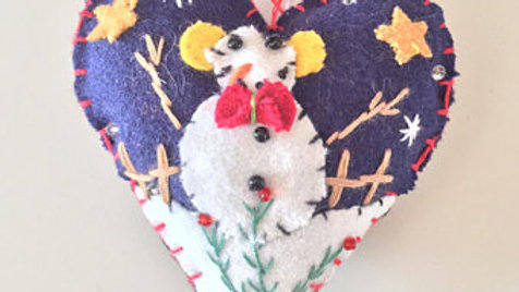 Snowman Heart Christmas Ornament
