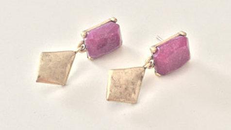 Purple Stone Gold Dangle Earrings