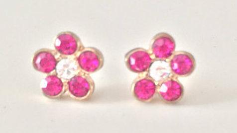 Pink Gem Flower Earrings