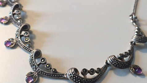 Elegant Silver and Purple Stone Necklace