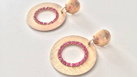Gold and Pink Metal Ring Earrings