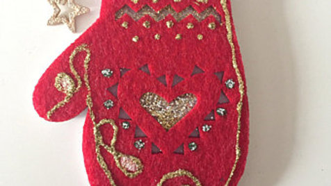 Red Mitten Christmas Ornament
