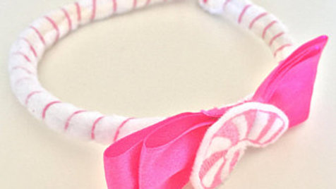 Pink Candy Cane Christmas Head Band