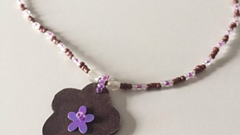 Purple and Brown Beaded Flower Necklace