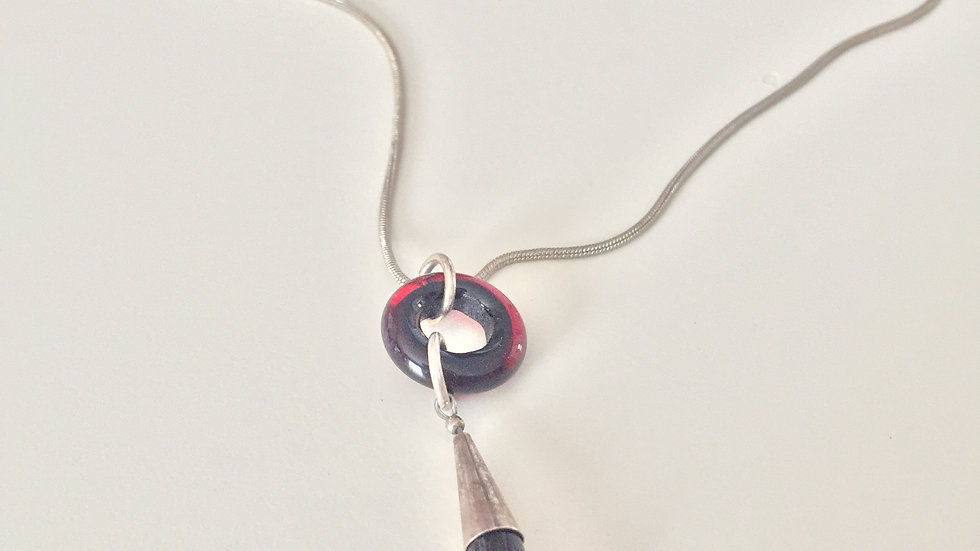 Red and Black Marbled Necklace