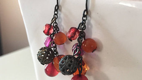 Pink Red and Orange Dangle Earrings