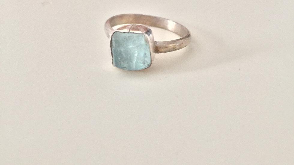 Glassy Blue Stone Ring