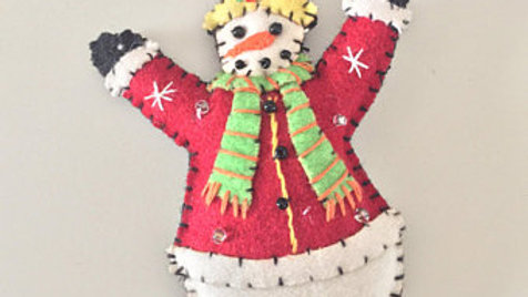 Bundled Snowman Christmas Ornament