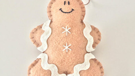 White Gingerbread Man Christmas Ornament