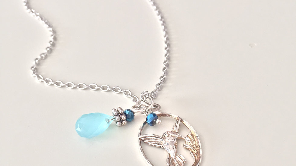 Silver Hummingbird With Blue Charm Necklace