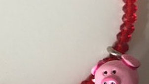 Beaded Piggy Charm Bracelet