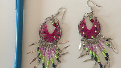 Hot Pink and Green Beaded Dangle Earrings