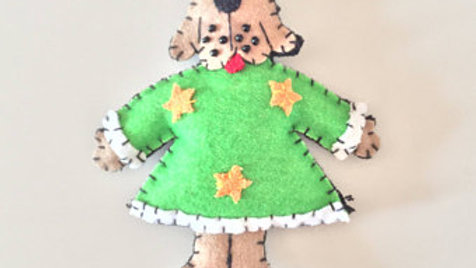 Tan Doggy Christmas Ornament