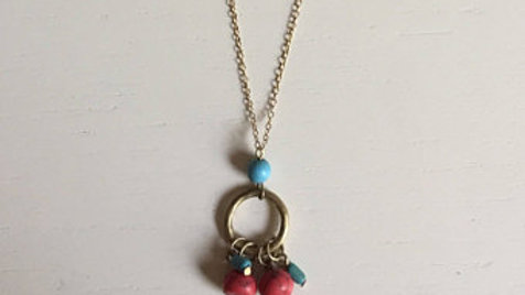Red and Blue Gold Necklace