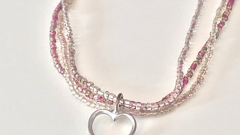 Pink Beaded Layered Heart Necklace