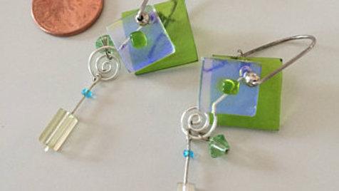 Light Blue and Green Dangle Earrings