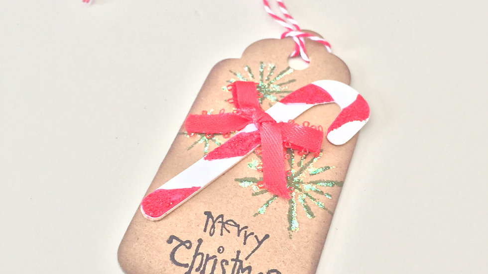 Christmas Candy Cane Gift Tags - Set of 5