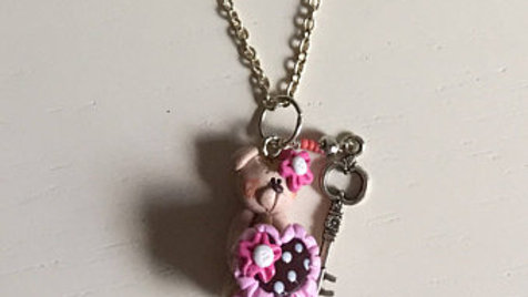Little Pink Teddy Charm with Key Necklace