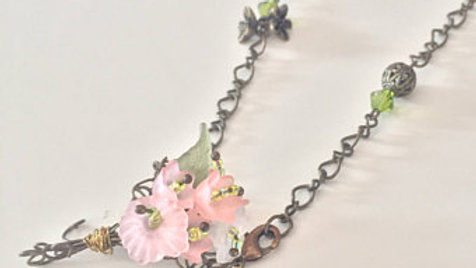 Pink Flower Bouquet Necklace